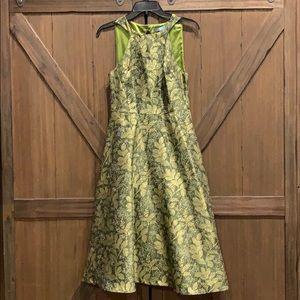 EUC Eva Franco metallic jacquard dress, Size 4